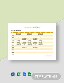 Free Sample University Schedule Template