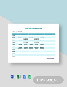 Free Simple University Schedule Template