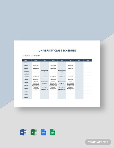 University Class Schedule Template