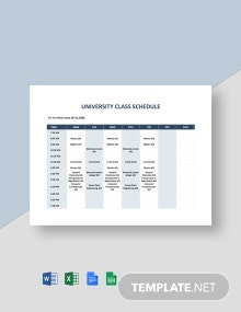 University Class Schedule Template