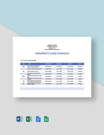 University Weekly Schedule Template
