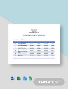 University Weekly Schedule Template