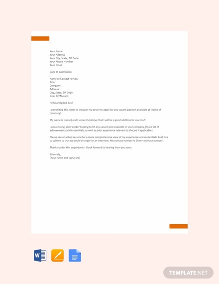 Free Application Letter Template For Any Position