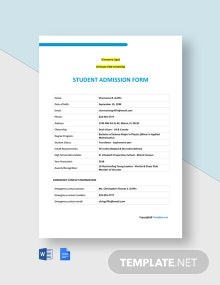 Free Blank University Admission Form Template