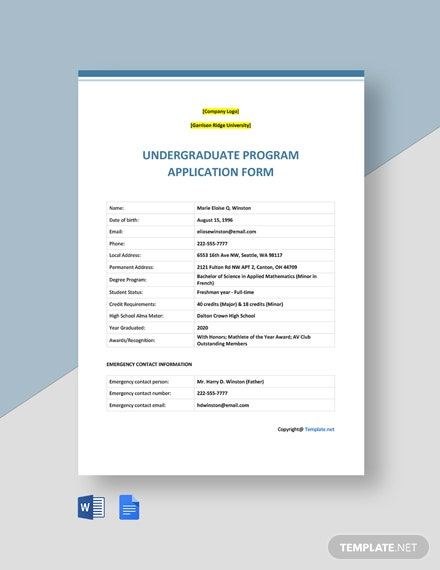 Sample University Application Form Template