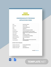 Free Sample University Application Form Template