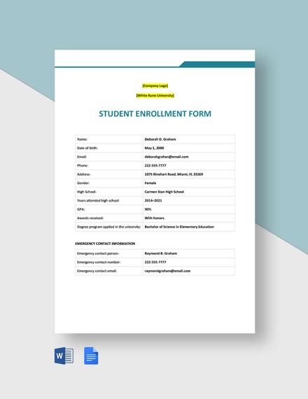Student Enrollment Form Template