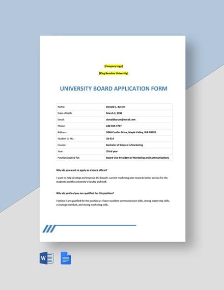 University Board Application Form Template