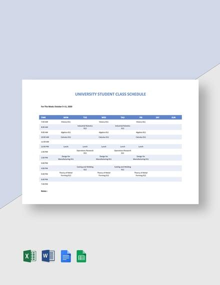 University Student Class Schedule Template