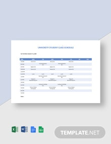 University Student Class Schedule Template