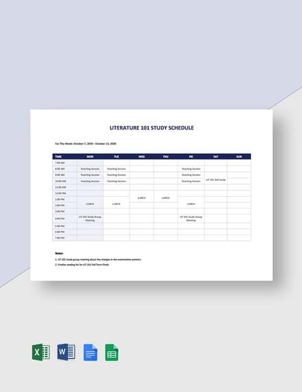 University Study Schedule Template