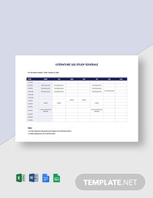 University Study Schedule Template