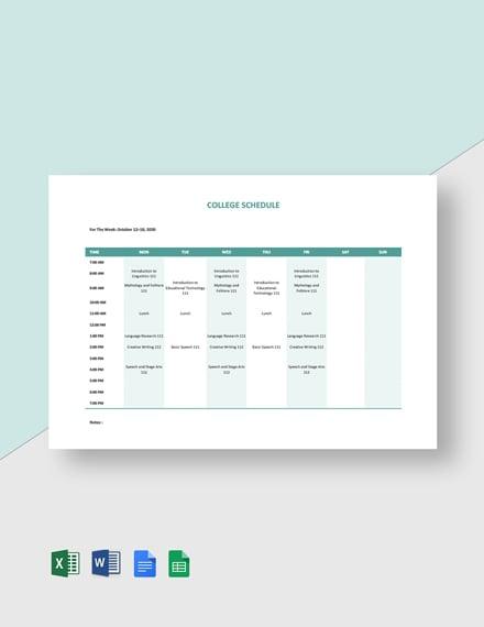 Editable College Schedule Template
