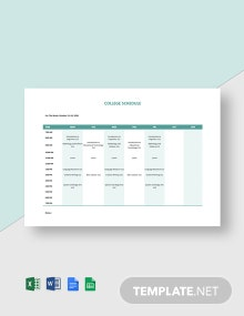 Editable College Schedule Template