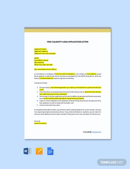 Calamity Loan Application Letter Template