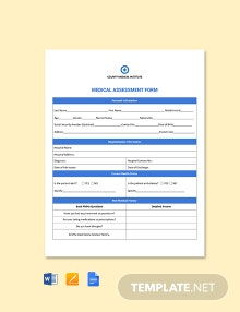 Medical Assessment Form Template