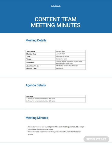 Meeting Minutes Sample Template
