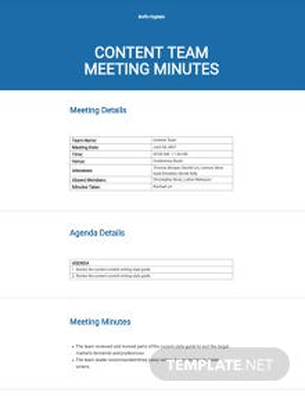 Meeting Minutes Sample Template