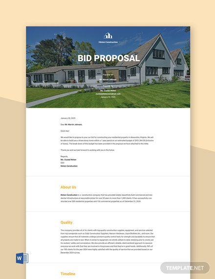 Bid Proposal Sample Template