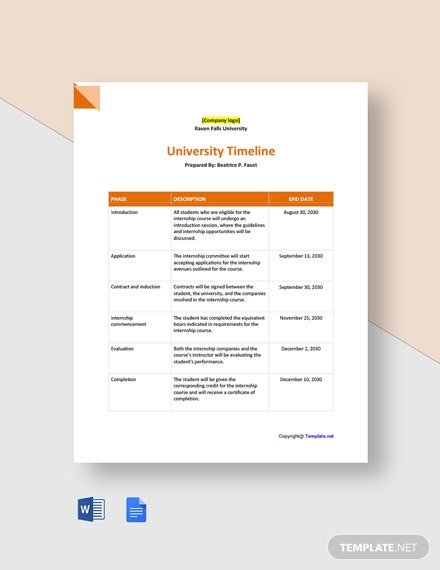 Free Sample University Timeline Template