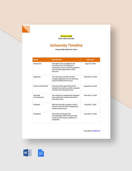Free Sample University Timeline Template