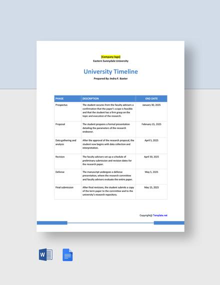 Free Basic University Timeline Template