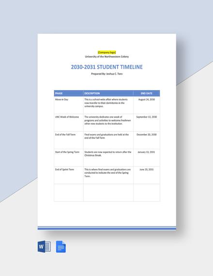 University Student Timeline Template
