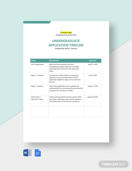 College and University Application Timeline Template