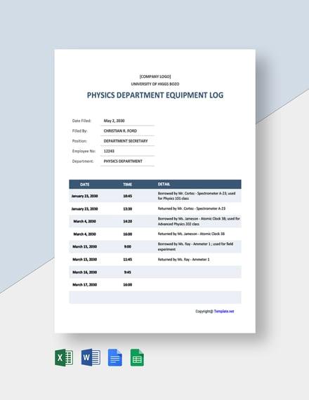 Free Sample University Log Template