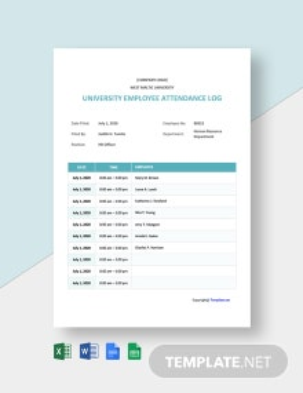 Free University Employee Attendance Log Template