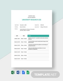 University Research Log Template