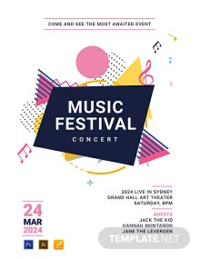 Free Music Festival Poster Template