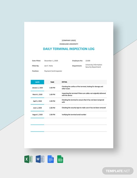 Daily Terminal Inspection Log Template