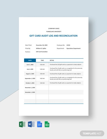 Gift Card Audit Log & Reconciliation Template