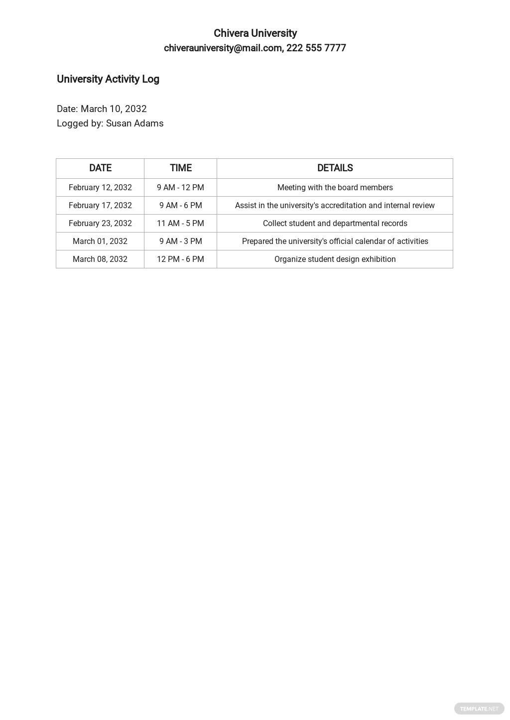 University Timesheet Log Template