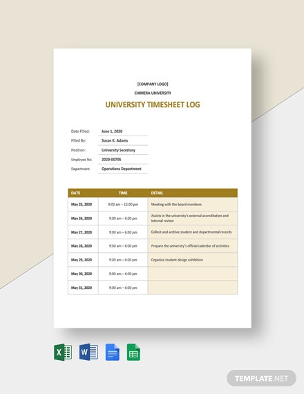 University Timesheet Log Template