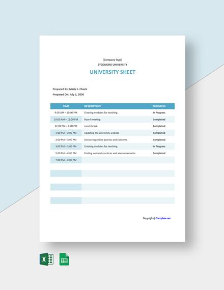 Free University Sheet Template