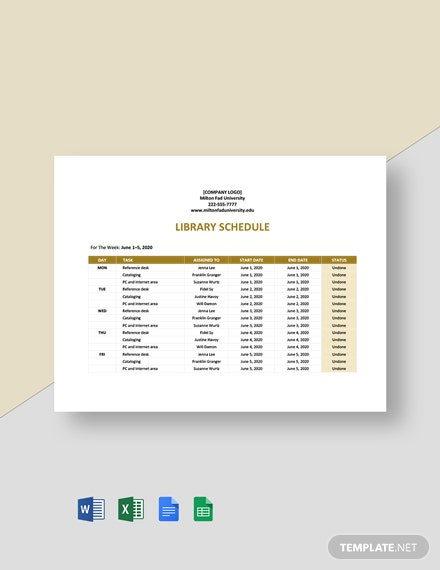 Library Schedule Template
