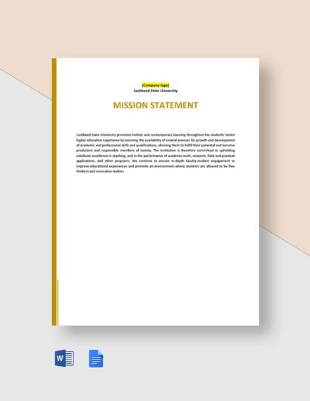 University Mission Statement Template