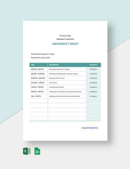 Free Sample University Sheet Template
