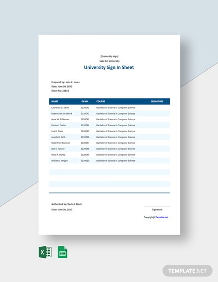 Free University Sign In Sheet Template