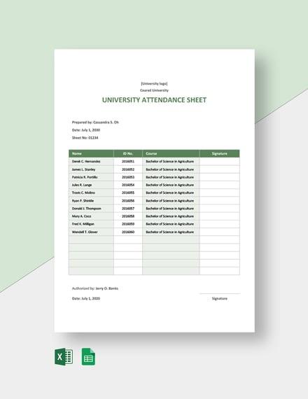 University Attendance Sheet Template