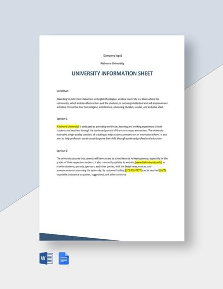 University Information Sheet Template