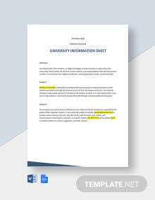 University Information Sheet Template