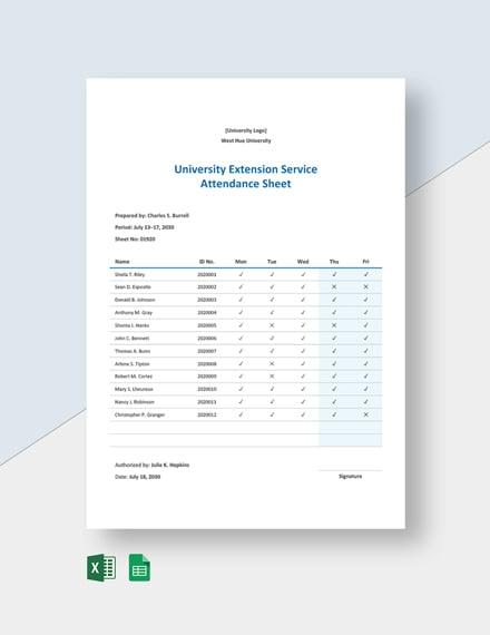 University Extension Service Attendance Sheet Template