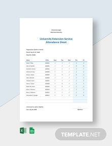 University Extension Service Attendance Sheet Template