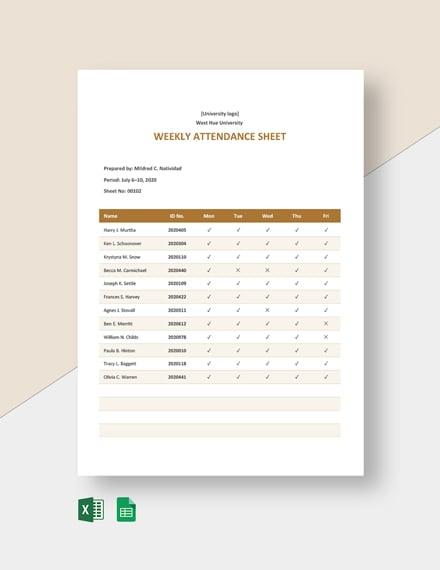 University Weekly Attendance Sheet Template