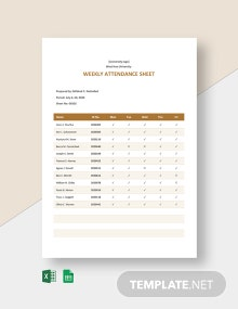University Weekly Attendance Sheet Template