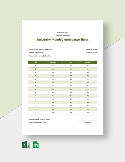 University Monthly Attendance Sheet Template