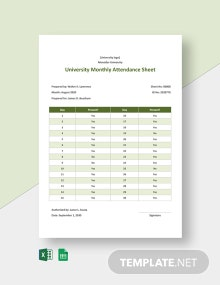 University Monthly Attendance Sheet Template